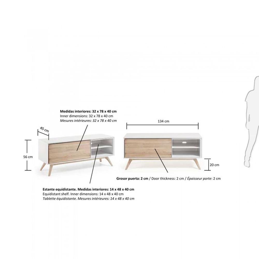 Meuble Tv Design Blanc Et Bois De Fr Ne Joshua By Drawer # Tablette Pour Tv En Bois