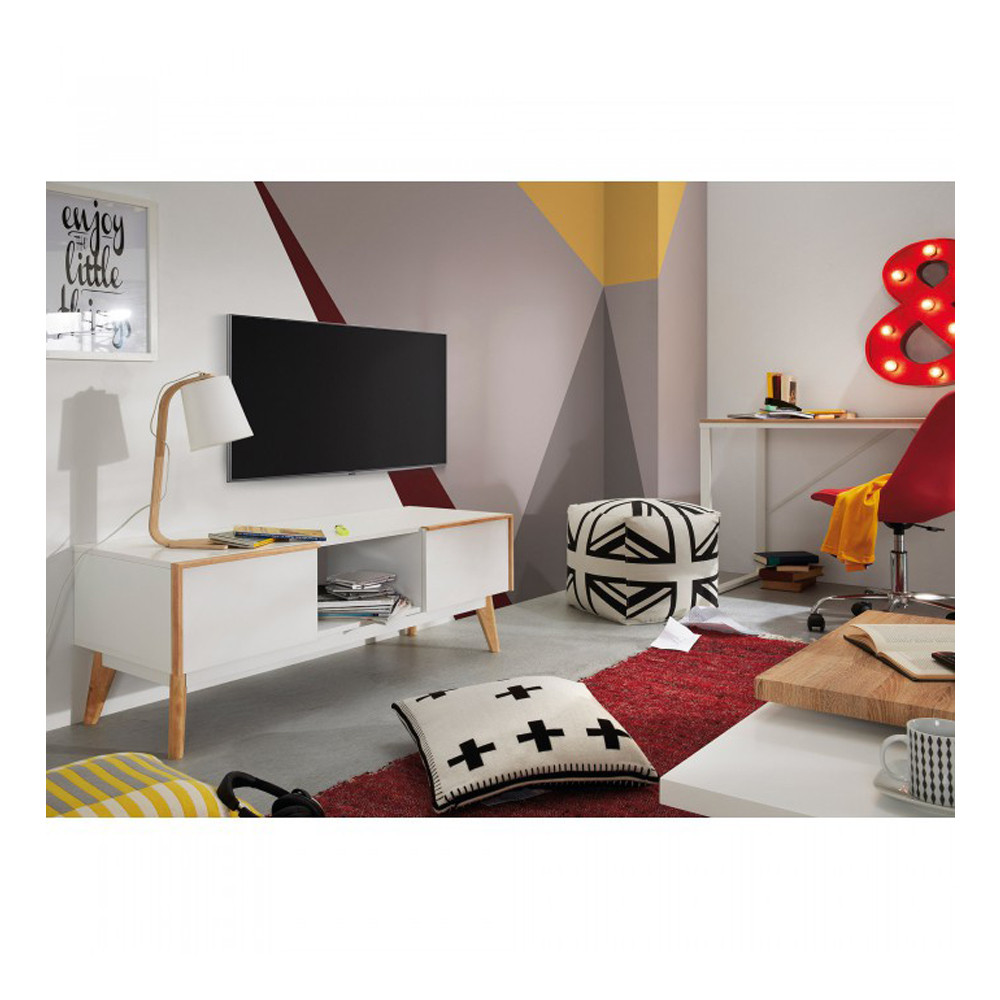 meuble tv design bois laqu blanc 2 tiroirs hector by drawer. Black Bedroom Furniture Sets. Home Design Ideas