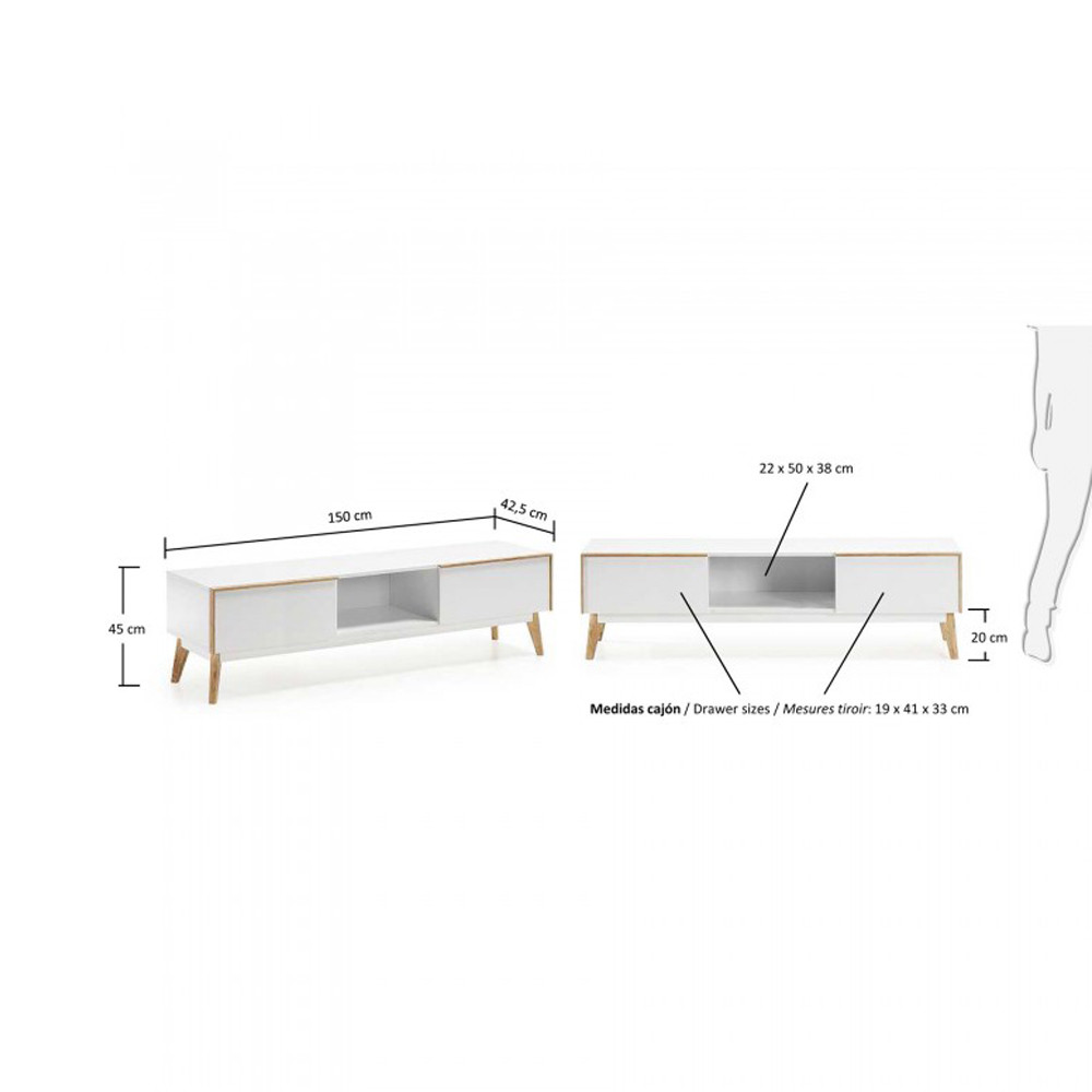 Meuble tv design bois laqu blanc 2 tiroirs hector by drawer for Meuble tv zuiver