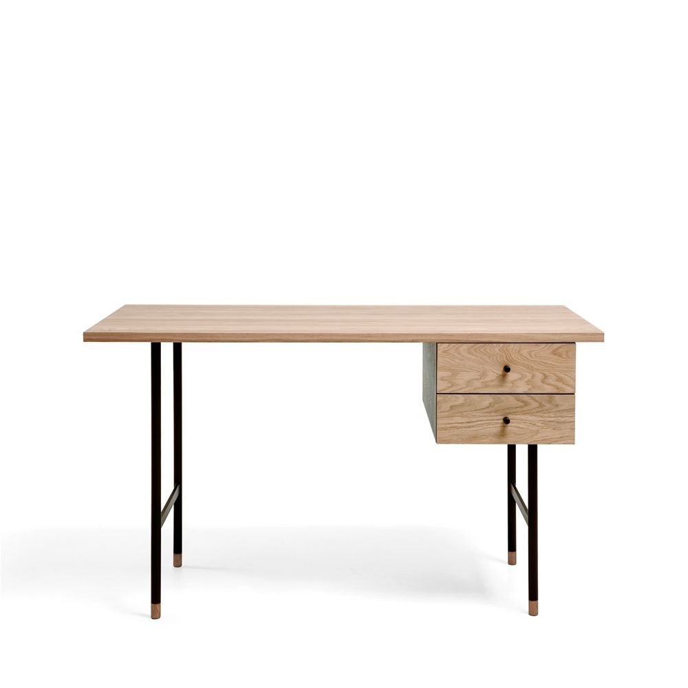 Bureau design bois et m tal jugend by drawer for Table bureau design