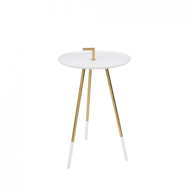 Table d'appoint métal laiton Rumbi Blanc