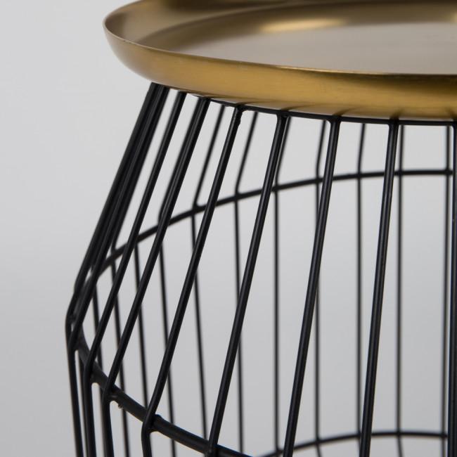 Table d'appoint métal et plateau laiton Nout
