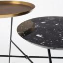 Table d'appoint double plateau noir et doré Indy