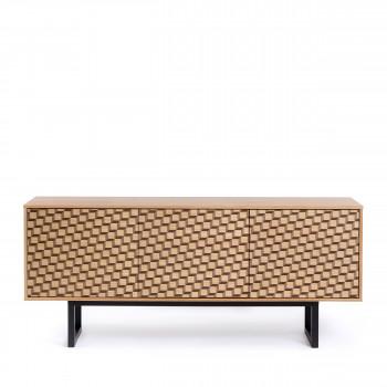 Buffet contemporain bois motifs cubes Camden
