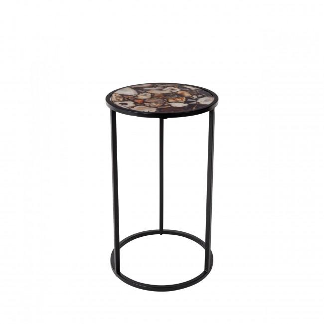 Table d'appoint métal et pierres Agate Dutchbone noir