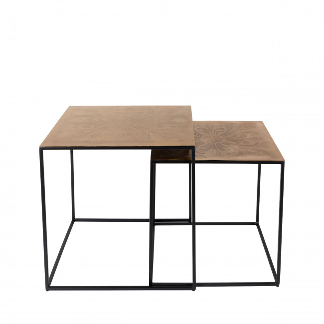Lot de 2 tables gigognes métal laiton Saffra Dutchbone