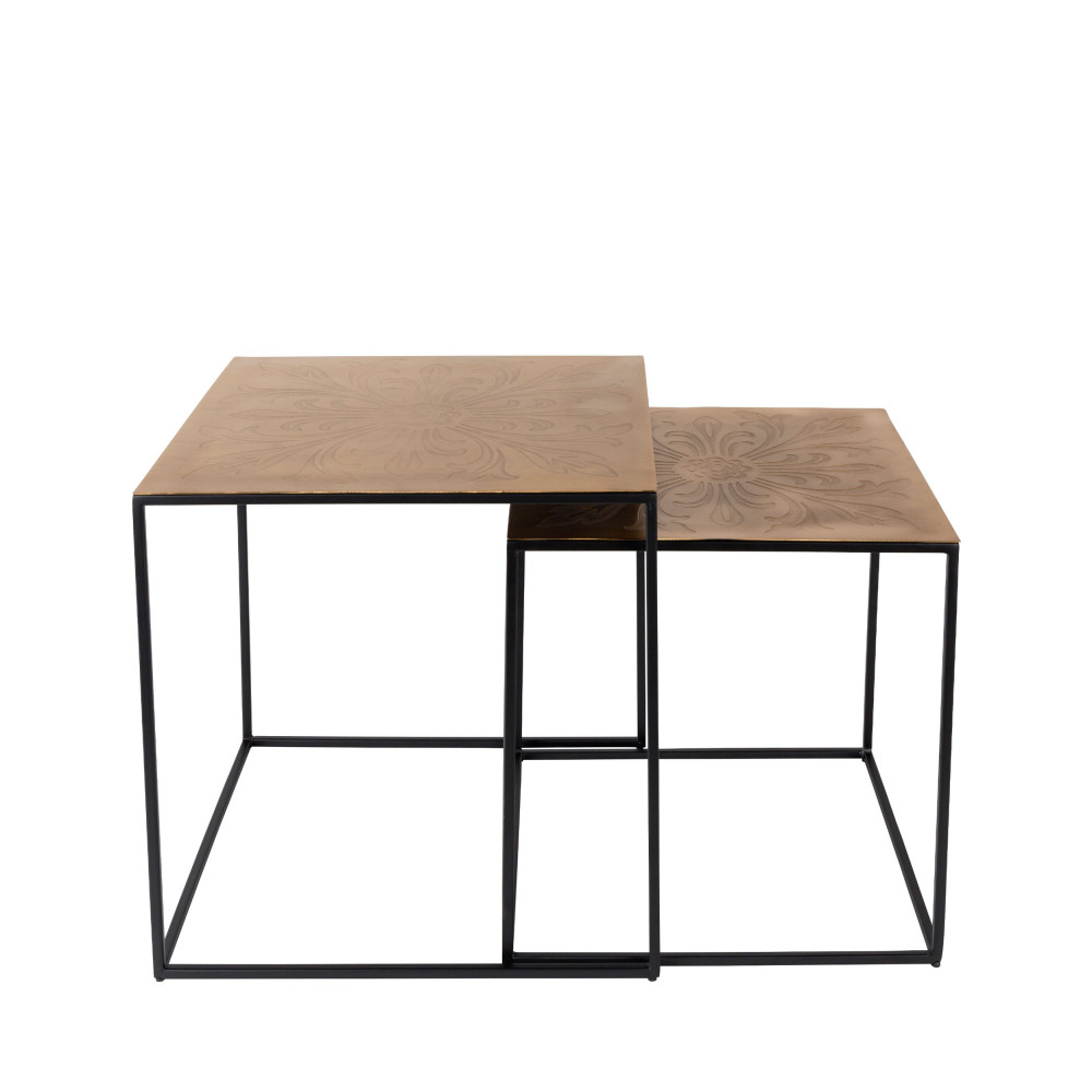 lot de 2 tables gigognes m tal laiton saffra dutchbone drawer. Black Bedroom Furniture Sets. Home Design Ideas