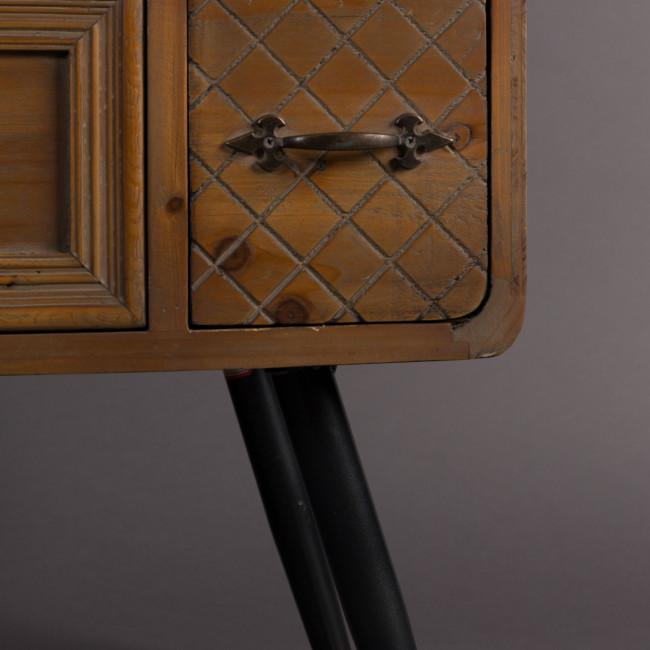 Buffet vintage bois 2 portes 8 tiroirs Jove Dutchbone détails bas