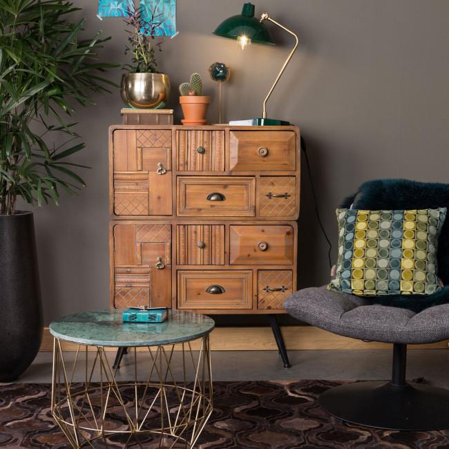 Buffet vintage bois 2 portes 8 tiroirs Jove Dutchbone ambiance salon