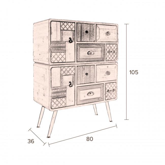 Buffet vintage bois 2 portes 8 tiroirs Jove Dutchbone dessin