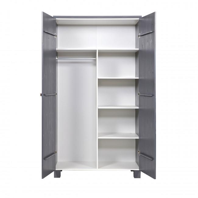 Armoire 2 portes en pin brossé Lowie gris anthracite