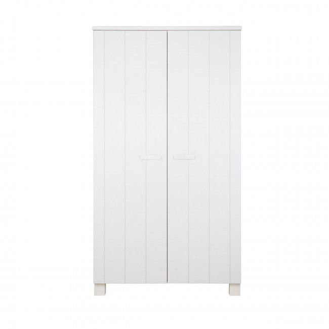 Armoire 2 portes en pin blanc brossé Lowie