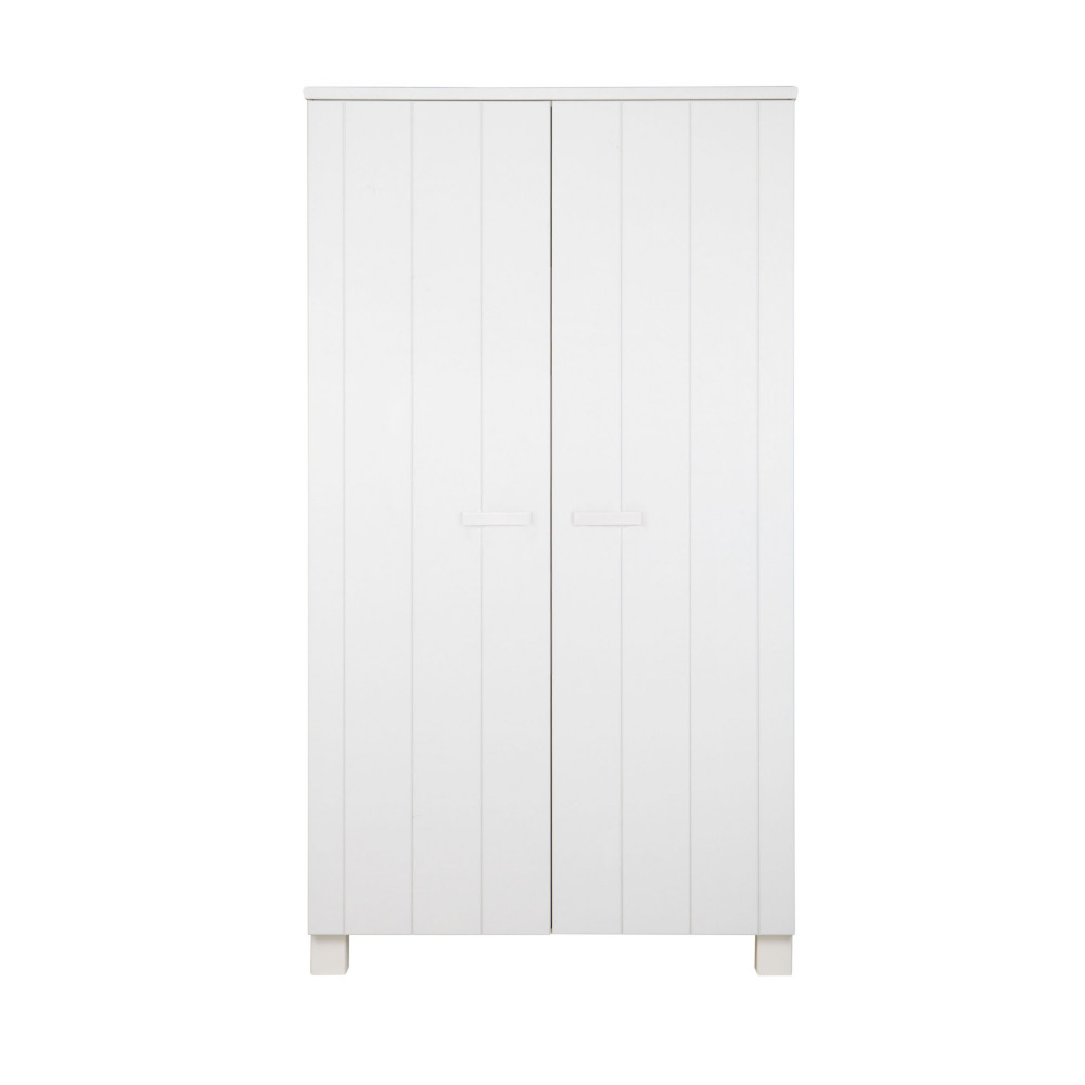 armoire 2 portes en pin masssif blanc design scandinave denis. Black Bedroom Furniture Sets. Home Design Ideas