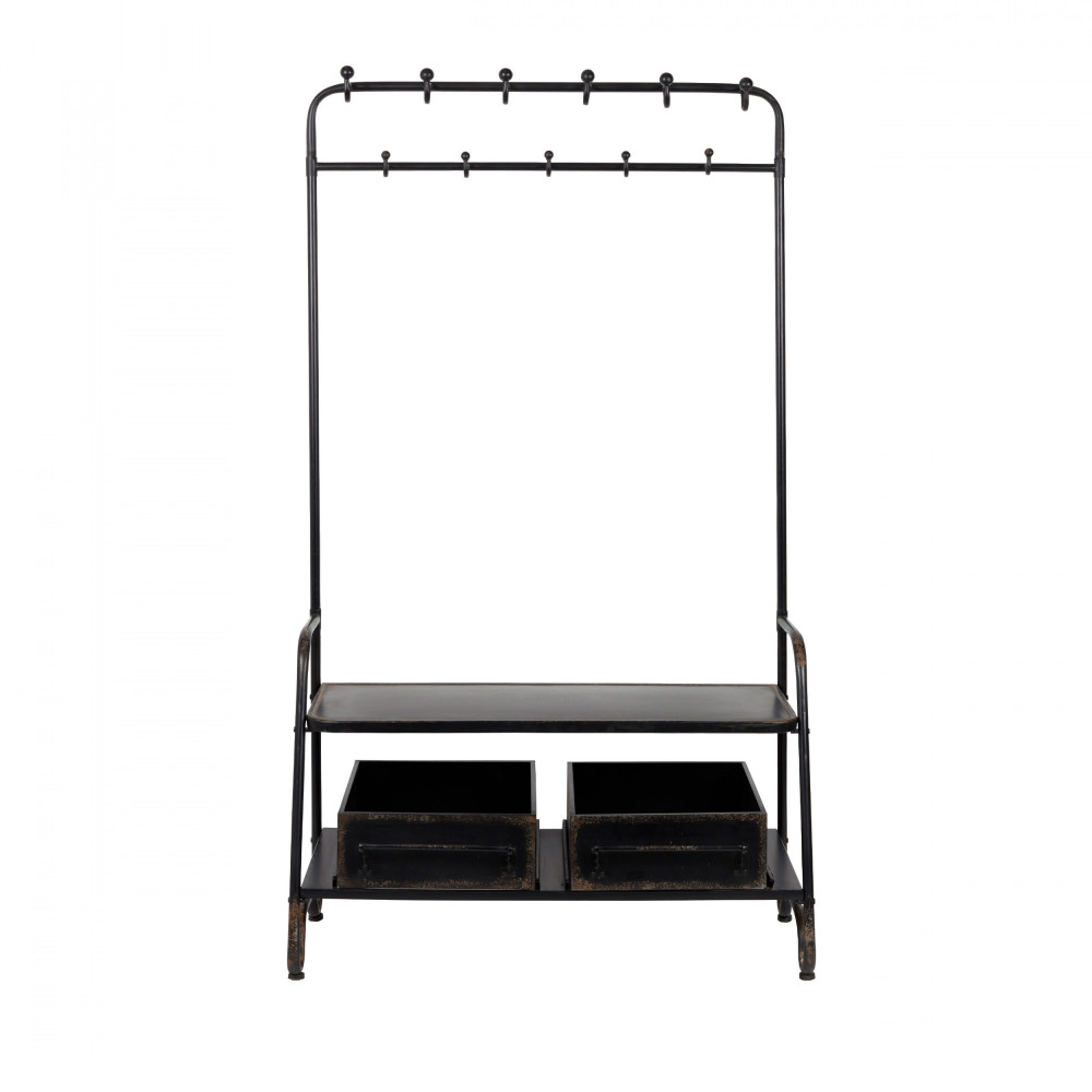 porte manteaux m tal noir lucius dutchbone by drawer. Black Bedroom Furniture Sets. Home Design Ideas