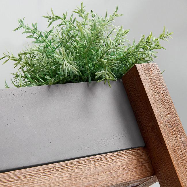 Etagère ciment et bois jardinières carrées Luna