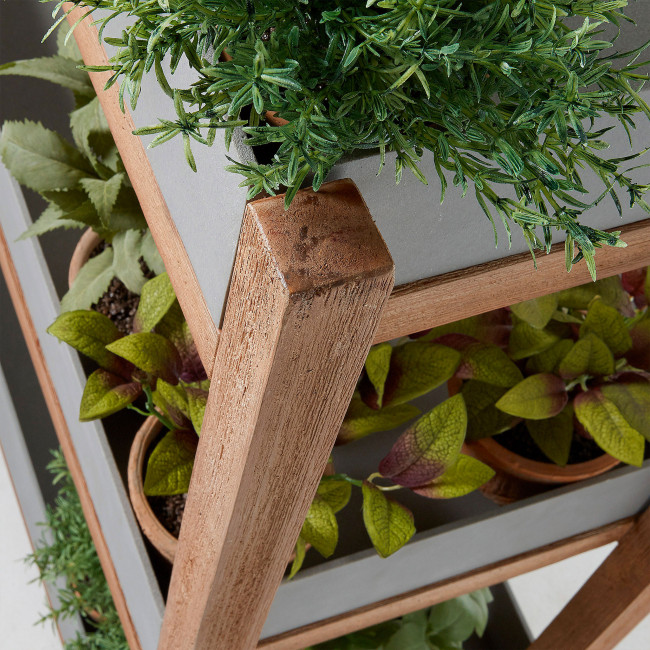 Etagère ciment et bois jardinières rectangulaires Luna