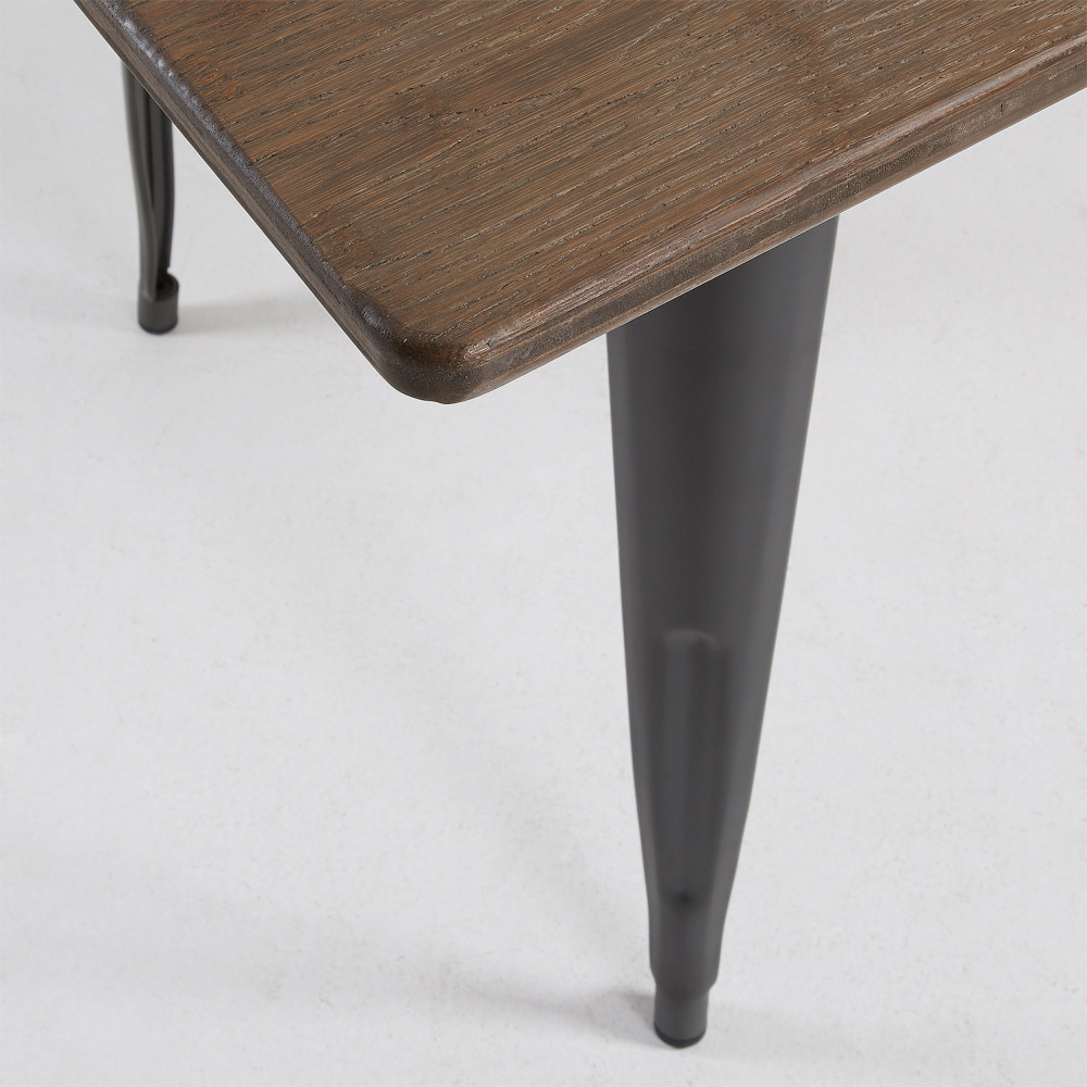 Table m tal et bois indoor outdoor 150x80 mali by drawer - Table bois et metal ...