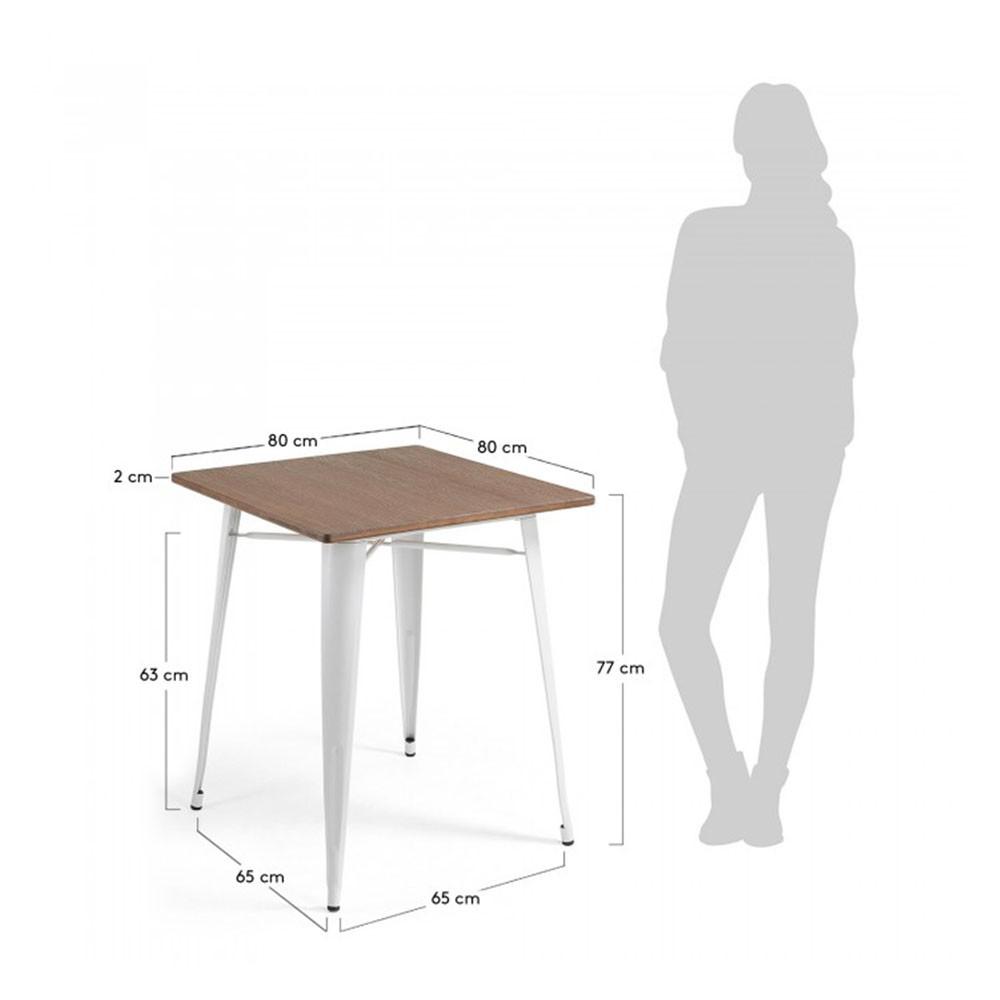 Métal Mali Bistrot En 80x80cm Table De Et Bois jqc53S4ARL
