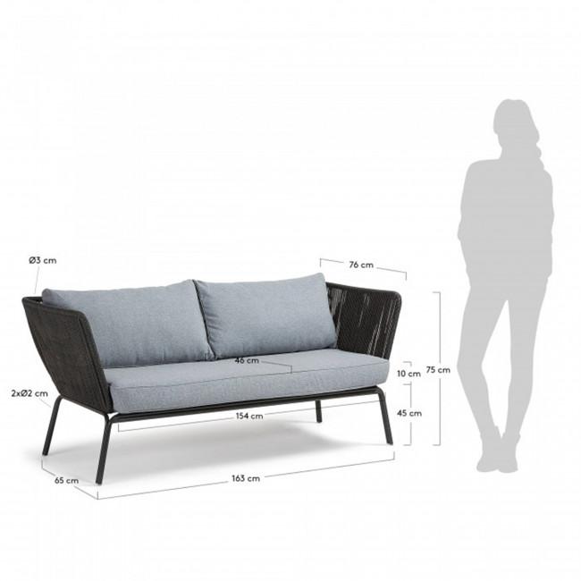 Canapé 3 places métal et corde indoor/outdoor Vernon