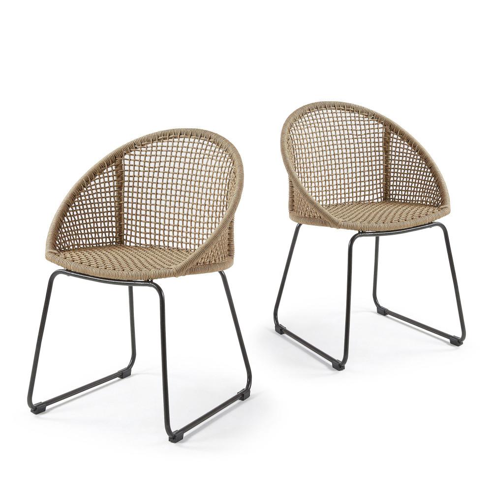lot de 2 chaises m tal et corde indoor outdoor sandra by drawer. Black Bedroom Furniture Sets. Home Design Ideas