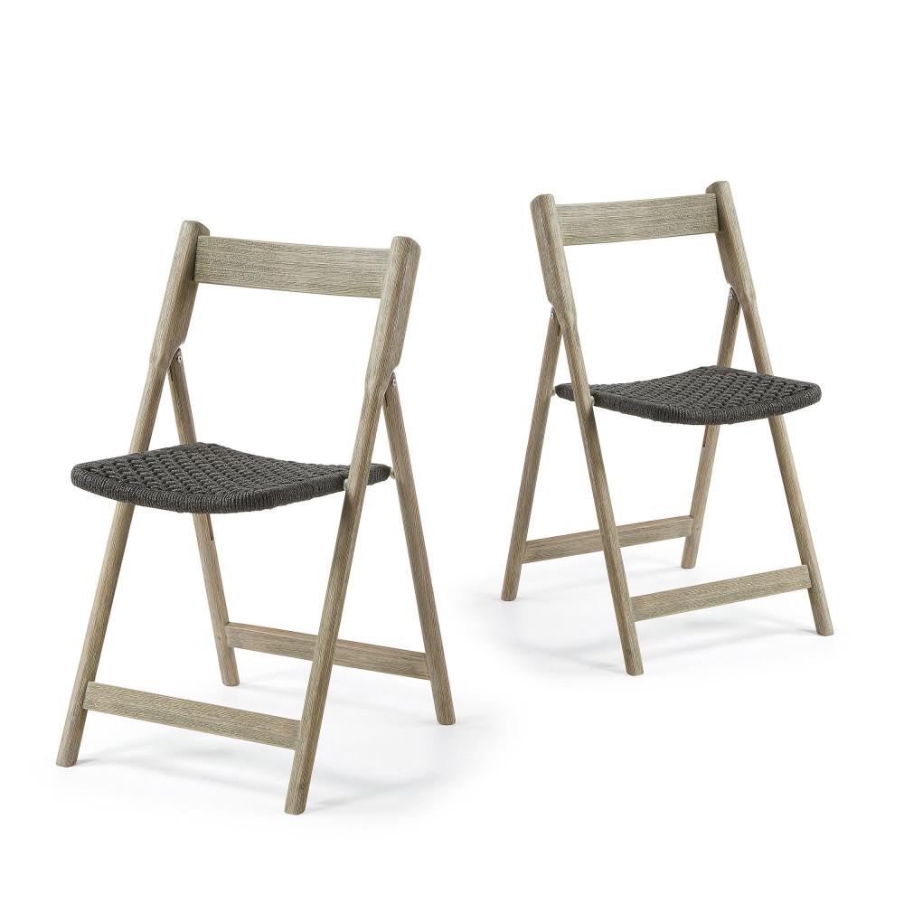 lot de 2 chaises en bois indoor outdoor rowing by drawer. Black Bedroom Furniture Sets. Home Design Ideas