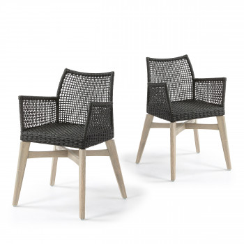 Lot de 2 chaises avec accoudoirs indoor/outdoor Houdini