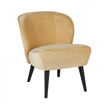 Fauteuil velours Sara champagne
