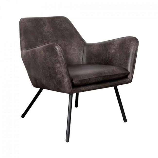 Fauteuil lounge vintage façon cuir Bon Gris anthracite