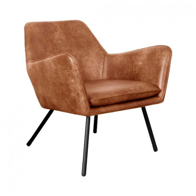 Fauteuil lounge vintage façon cuir Bon Marron
