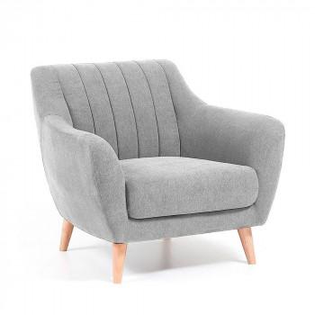 Fauteuil design scandinave tissu rembourré Georges Gris clair