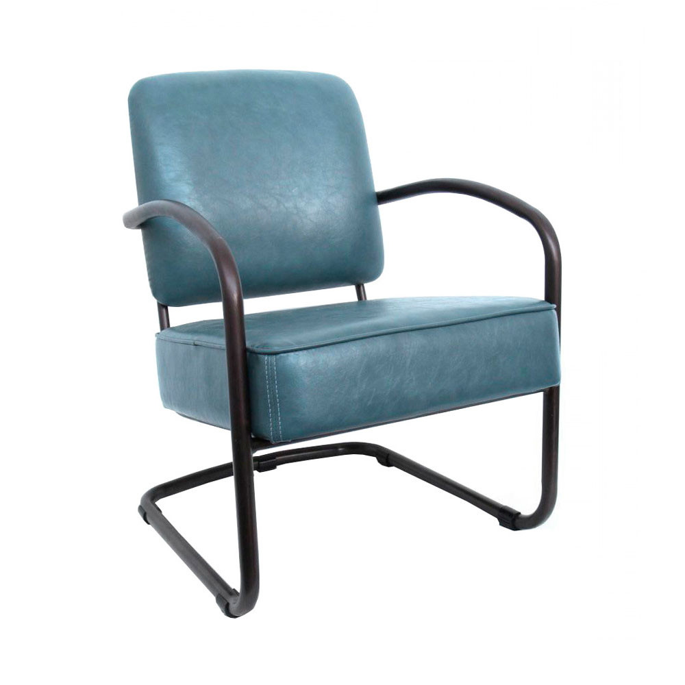 fauteuil vintage retro en cuir bleu by drawer. Black Bedroom Furniture Sets. Home Design Ideas