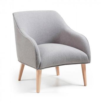 fauteuil tissu et bois norbert gris clair - Fauteuil En Tissu