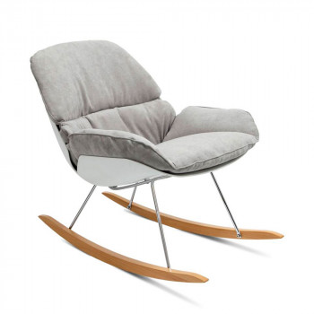 Rocking chair vintage en tissu Buddy