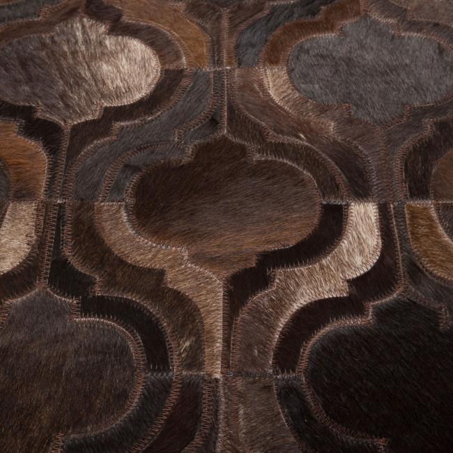 Tapis patchwork cuir marron foncé Bawang Dutchbone