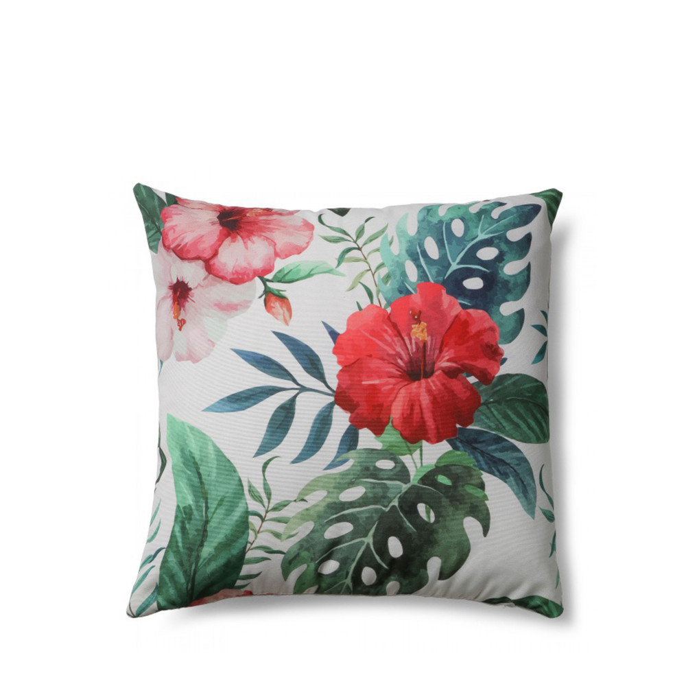 Coussin Motifs Hibiscus Indoor Outdoor Tropical Drawer