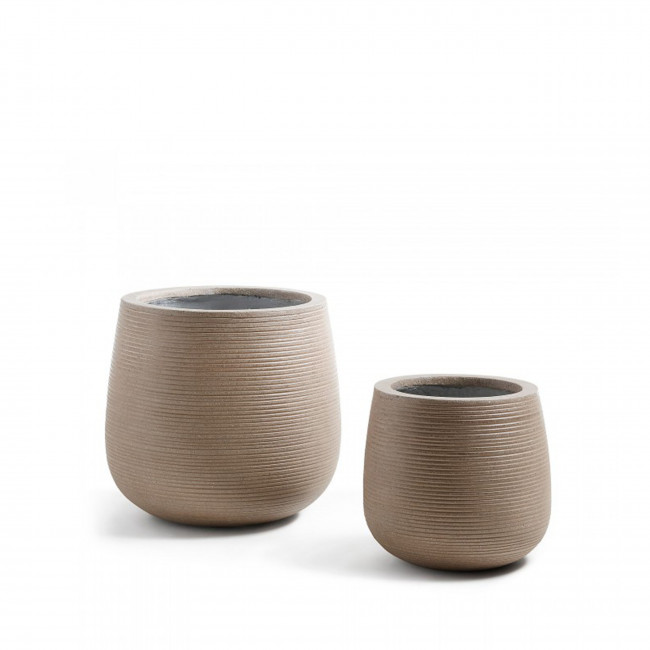 Lot de 2 cache pots design marron lisa drawer for Cache pot design interieur