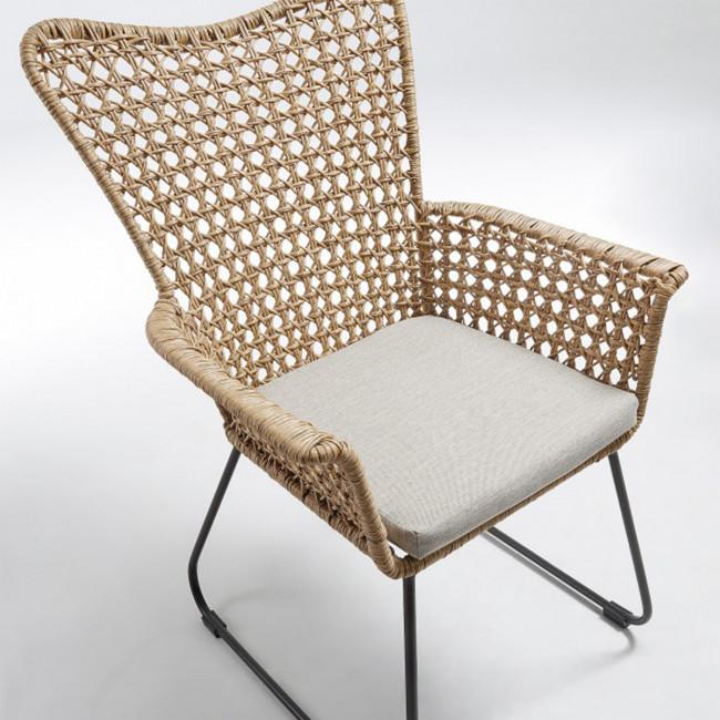 Fauteuil en rotin et métal indoor/outdoor Sanders detail