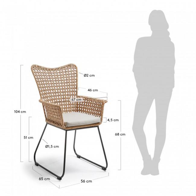 Fauteuil en rotin et métal indoor/outdoor Sanders