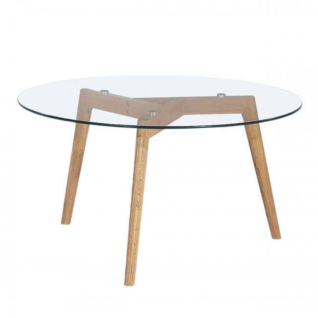 Table basse ronde 90cm ingmar en verre et bois for Table scandinave en verre