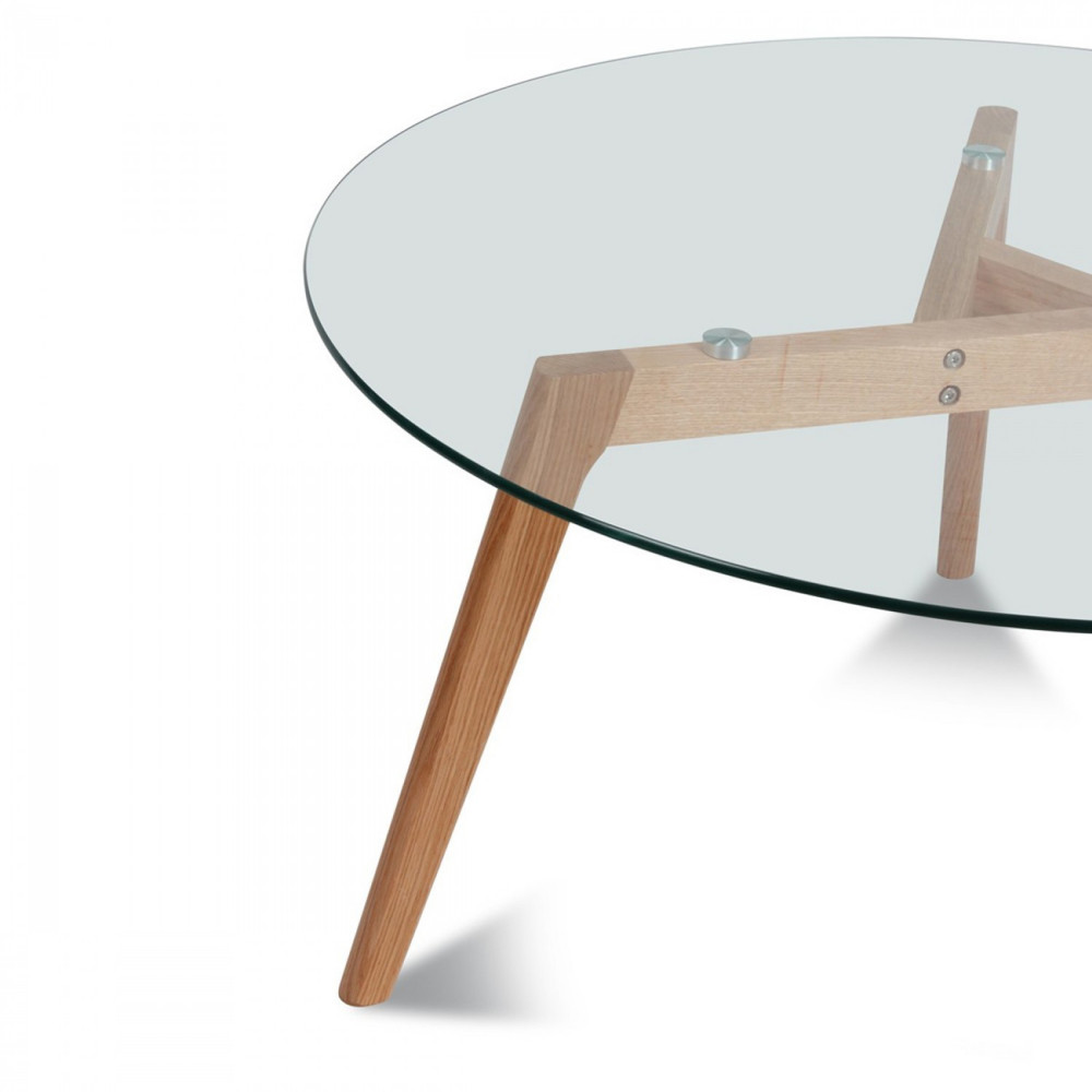 Table basse ronde 90cm ingmar en verre et bois for Table basse scandinave bois massif