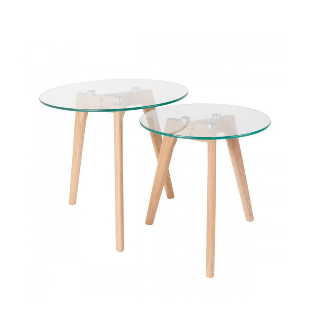 Tables basses design scandinave gigognes ingmar en bois et - Tables basses design en verre ...