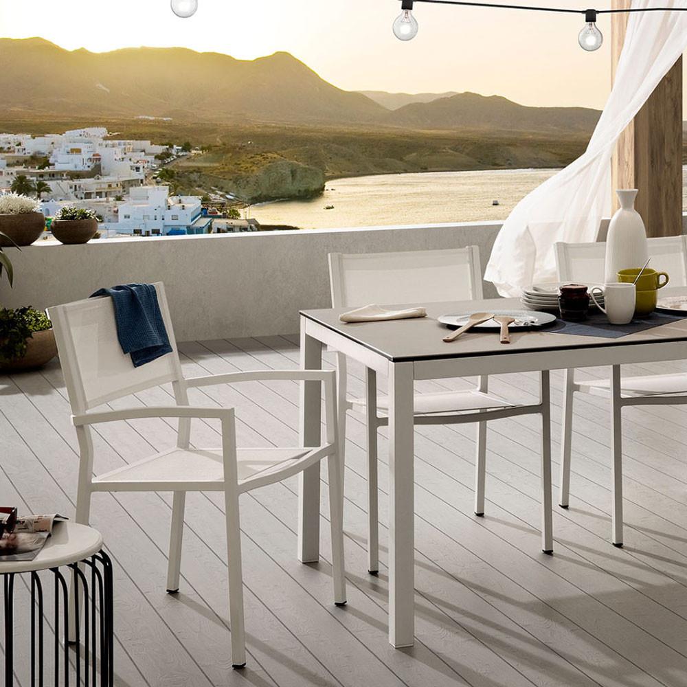 Fauteuil de jardin en aluminium blanc et polyester Naysha