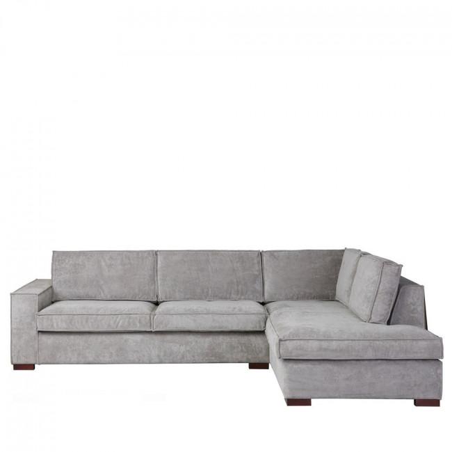 Canapé d'angle droit tissu vert côtelé Thomas