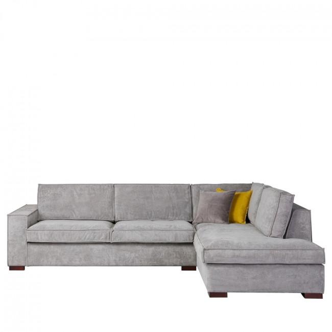 Canapé d'angle droit tissu côtelé Thomas