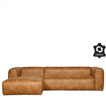 Canapé d'angle gauche cuir cognac Bean