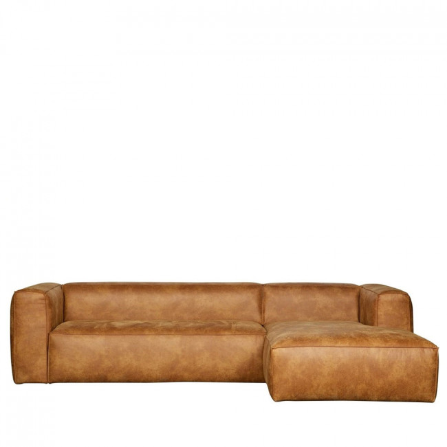Canapé d'angle droit cuir cognac Bean