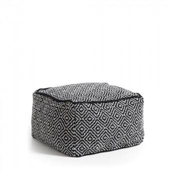 Pouf 100% coton déhoussable noir et blanc Thira
