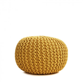 Pouf tissé main en laine Ø50 cm Samosa