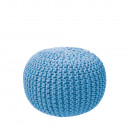 Pouf Tricot bleu