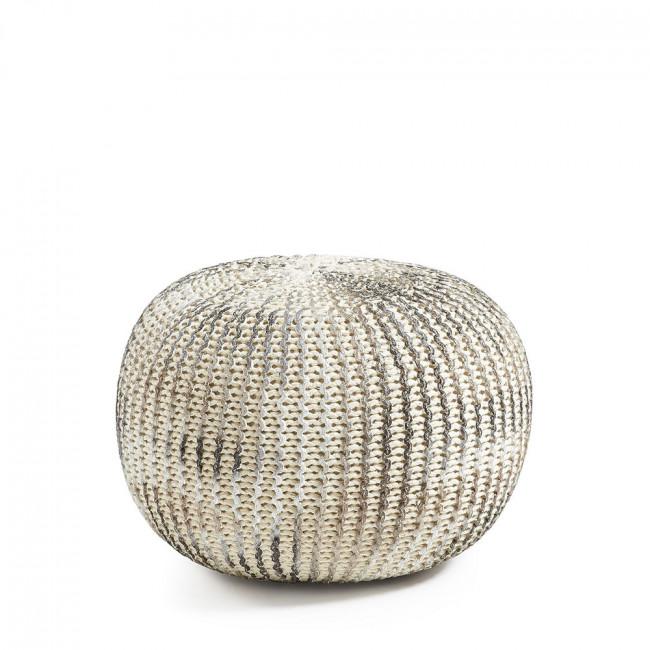 Pouf en coton tricoté Metal Shott